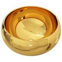 vidaXL izlietne, 40x15 cm, keramika, zelta krāsā
