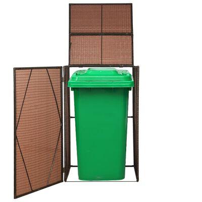 vidaXL nojume atkritumu konteineram, 76x78x120 cm, brūns PE pinums