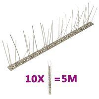 vidaXL putnu atbaidīšanas radzes, 5 rindas, 10 gab., 5 m, tērauds