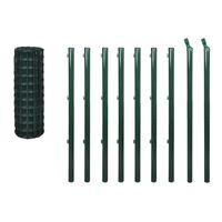 vidaXL Euro stiepļu žogs, tērauds, 10x1,2 m, zaļš