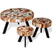 vidaXL kafijas galdiņu komplekts, 3 gab., pārstrādāts koks