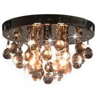 vidaXL griestu lampa ar dūmakainām pērlēm, melna, apaļa, G9