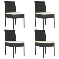 vidaXL dārza krēsli, 4 gab., PE rotangpalma, melni