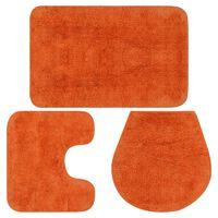 vidaXL vannasistabas paklāji, 3 gab., oranžs audums