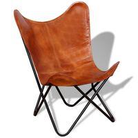 vidaXL tauriņa formas krēsls, brūna dabīgā āda