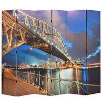 vidaXL istabas aizslietnis, 228x170 cm, saliekams, Hārbora tilts