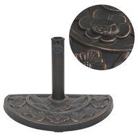 vidaXL saulessarga pamatne, sveķu materiāls, pusapaļa, bronza, 9 kg