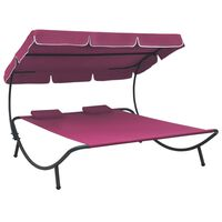 vidaXL Outdoor Lounge Bed with Canopy and Pillows Pink