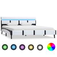 vidaXL gultas rāmis ar LED, balta mākslīgā āda, 140x200 cm
