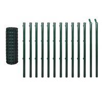 vidaXL Euro stiepļu žogs, tērauds, 25x0,8 m, zaļš