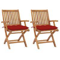vidaXL dārza krēsli, 2 gab., sarkani matrači, masīvs tīkkoks