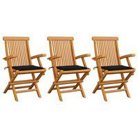 vidaXL dārza krēsli, melni matrači, 3 gab., masīvs tīkkoks