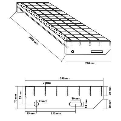 vidaXL kāpņu pakāpieni, 4 gab., iespiesti, cinkots tērauds, 1000x240mm