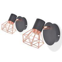 vidaXL sienas lampas, 2 gab., E14, melnas ar vara brūnu