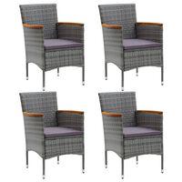 vidaXL dārza krēsli, 4 gab., PE rotangpalma, pelēki