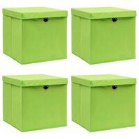 vidaXL uzglabāšanas kastes ar vāku, 4 gab., 32x32x32 cm, zaļš audums