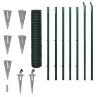vidaXL Euro stiepļu žogs, tērauds, 10x1,5 m, zaļš