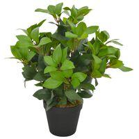 vidaXL mākslīgais augs, lauru koks ar podiņu, zaļš, 40 cm