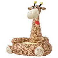 vidaXL bērnu atpūtas krēsls, žirafe, brūns plīšs