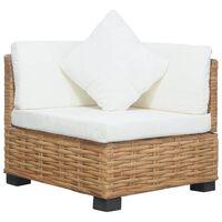 vidaXL stūra dīvāns ar matračiem, dabīga rotangpalma
