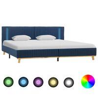 vidaXL gultas rāmis ar LED, zils audums, 160x200 cm