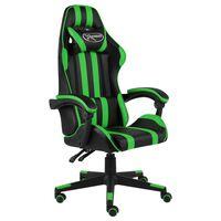 vidaXL biroja krēsls, melna un zaļa mākslīgā āda