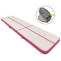 vidaXL piepūšams vingrošanas paklājs ar pumpi, 800x100x15 cm, rozā PVC