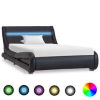 vidaXL gultas rāmis ar LED, melna mākslīgā āda, 100x200 cm