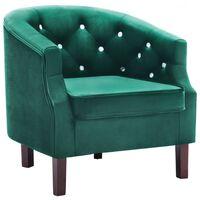 vidaXL atpūtas krēsls, zaļš samts