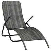 vidaXL saliekams sauļošanās krēsls, pelēka PE rotangpalma