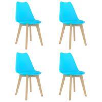 vidaXL virtuves krēsli, 4 gab., zila plastmasa