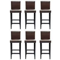 vidaXL bāra krēsli, 6 gab., tumši brūna mākslīgā āda