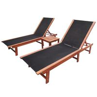 vidaXL sauļošanās zviļņi, 2 gb., ar galdiņu, akācijas koks, tekstilēns