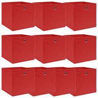 vidaXL uzglabāšanas kastes, 10 gab., 32x32x32 cm, sarkans audums