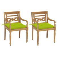 vidaXL dārza krēsli, 2 gab., spilgti zaļi matrači, masīvs tīkkoks