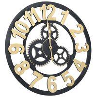 vidaXL sienas pulkstenis, 70 cm, MDF, zelta un melna krāsa