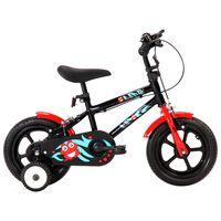 vidaXL bērnu velosipēds, 12 collas, melns ar sarkanu