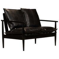 vidaXL divvietīgs dīvāns, melna dabīgā āda, akācijas koks
