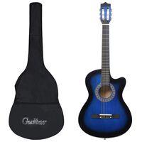 """vidaXL 12-daļīgs akustiskās ģitāras komplekts, ar 6 stīgām, zils, 38"""""""