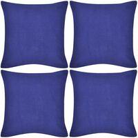 Spilvenu pārvalki, 4 gab., 40 x 40 cm, kokvilna, zili