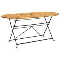 vidaXL dārza galds, 160x85x74 cm, akācijas masīvkoks, ovāls