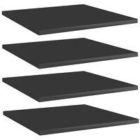 vidaXL plauktu dēļi, 4 gab., spīdīgi melni, 40x40x1,5cm, skaidu plātne