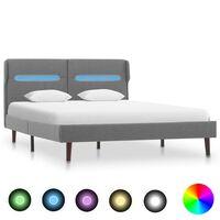 vidaXL gultas rāmis ar LED, gaiši pelēks audums, 120x200 cm