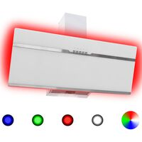 vidaXL RGB tvaika nosūcējs, LED, 90 cm, tērauds un rūdīts stikls