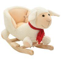 vidaXL bērnu šūpuļkrēsls ar atzveltni, 60x32x50 cm, aita, balts plīšs