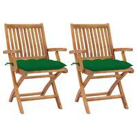 vidaXL dārza krēsli, 2 gab., zaļi matrači, masīvs tīkkoks