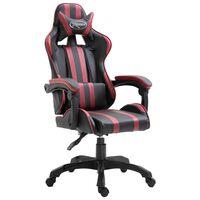 vidaXL datorspēļu krēsls, vīnsarkana mākslīgā āda