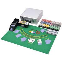 vidaXL pokera komplekts ar 600 lāzeruzlīmju žetoniem, alumīnijs