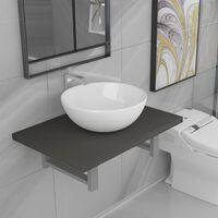 vidaXL divdaļīgs vannasistabas mēbeļu komplekts, pelēks, keramika