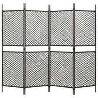 vidaXL 4-paneļu istabas aizslietnis, 240x200 cm, PE rotangpalma, brūns